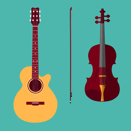 classical guitar: Set of string instruments. Classical violin with bow, classical guitar. Isolated musical instruments on teal backgound. Vector illustration in flat style design. Illustration