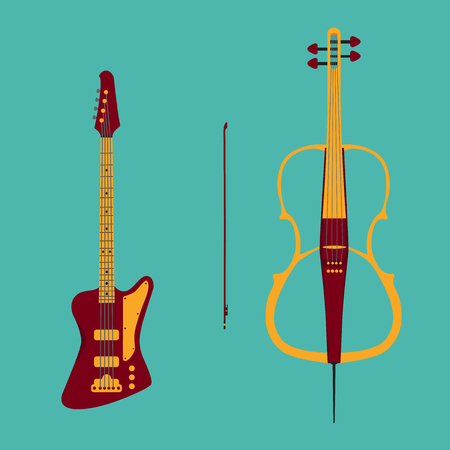 pickups: Set of string instruments. Electric cello with bow and bass guitar. Isolated musical instruments on teal backgound. Vector illustration in flat style design.