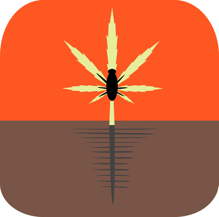 Marijuana growing concept. Pests and diseases icon. Flat style design vector illustration. Illustration