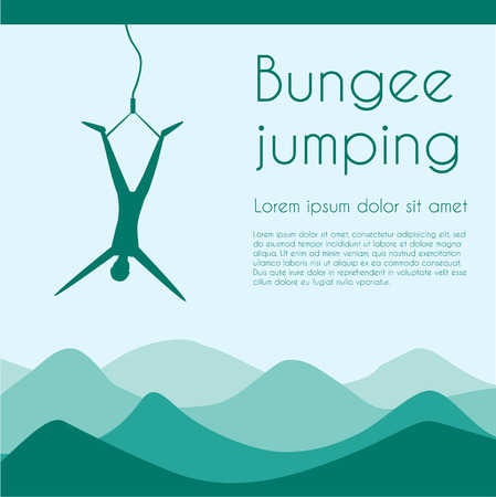 rope bridge: Rope jumping. Bungee jumping. Extreme sports. Silhouette person jumping on rope on mountaines background. Vector illustration.