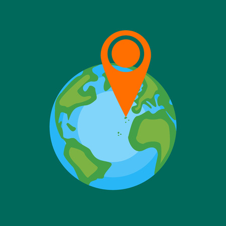 europa: Globe with sign of vacation place in Canary islands. Africa, America, Europa. Vector illustration in flat style design. Illustration