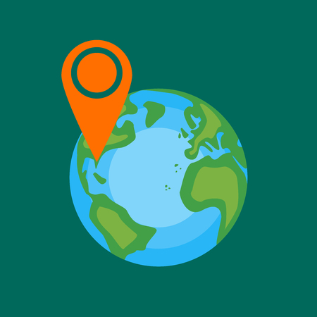 europa: Globe with sign of vacation place in Florida. Africa, America, Europa. Vector illustration in flat style design. Illustration