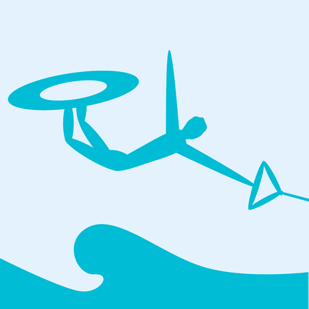 surfboard fin: Wakeboarding. Extreme sports. Silhouette person jumping on wakeboard on sea background. Vector illustration.