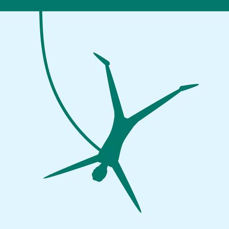 bungee jumping: Saltar la cuerda. Puenting. Deportes extremos. Persona silueta saltando sobre la cuerda en montes de fondo. Ilustraci�n del vector. Vectores