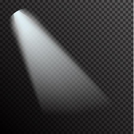 Realistic white gray glowing spotlights on transparent laid background. Theater studio, scene illumination. Magic, bright, gradient light effects. Vector illustration for your design and business.
