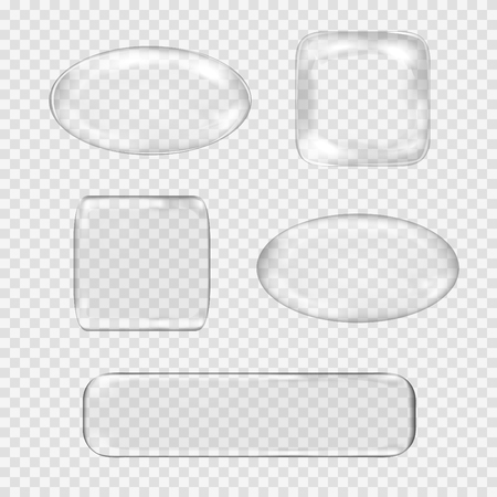Vector set of transparent glass buttons. White glass sphere, square, rectangle with glares and highlights. Vector illustration contains gradients and effects. Web icons for your design and business. Illustration