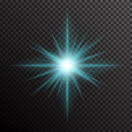 Glowing light burst with sparkles on a plaid dark black background. Transparent gradient star, lightning flare. Magic, bright, natural effects. Abstract texture template for your design and business. Stock Illustratie