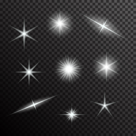 Vector set of glowing light bursts on black. Gradient transparent stars, lightning flare. Magic, bright, natural effects. Banner for Christmas celebrate. Abstract template for your design and business