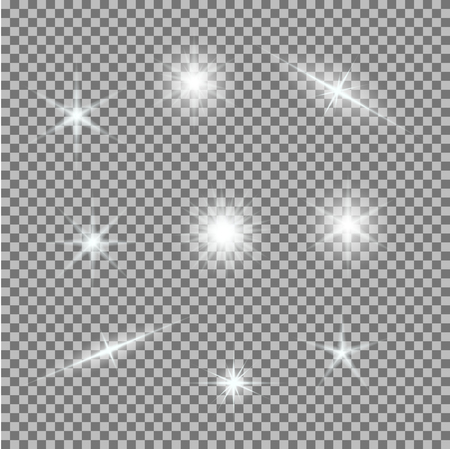 Vector set of glowing light bursts on grey white. Gradient transparent stars, lightning flare. Magic natural effects. Banner for Christmas celebrate. Abstract template for your design and business.