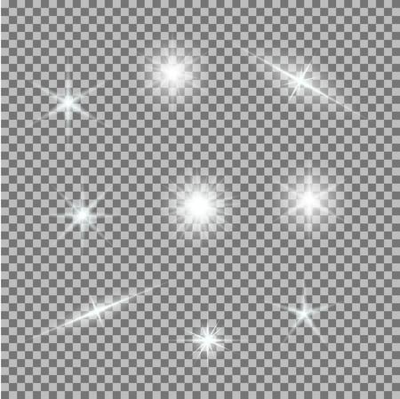 Vectorreeks gloeiende lichte uitbarstingen op grijs-wit. Gradiënt transparante sterren, bliksemflare. Magische natuurlijke effecten. Banner voor Kerstmis vieren. Abstracte sjabloon voor uw ontwerp en het bedrijfsleven.