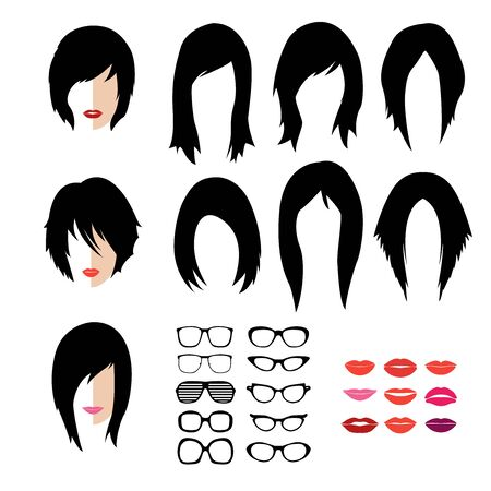 creation kit: Vector set dress up constructor. Different woman flat faces hipster style haircut, glasses and lips. Silhouette icon creation kit. Design flat avatar for social media or web site