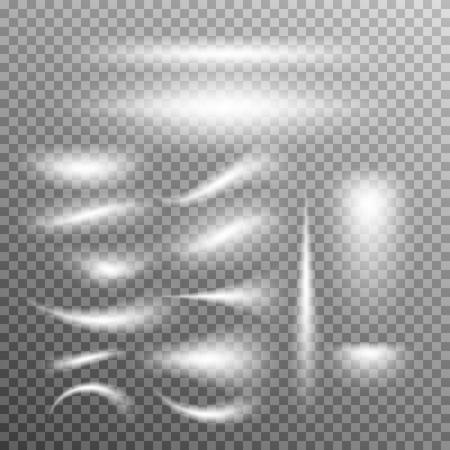 Vector set van gloeiende licht uitbarstingen op grijs wit. Gradient transparante sterren, bliksem flare. Magic natuurlijke effecten. Banner voor Kerstmis te vieren. Abstract sjabloon voor uw ontwerp en het bedrijfsleven.