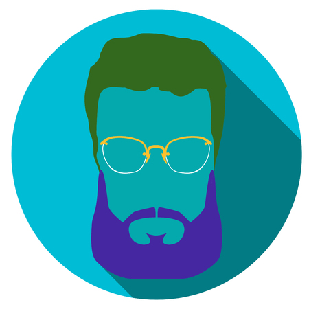 men cartoon: Super hero mask glasses collection. Flat style avatar icon. Colorful vector illustration eps 8. Geek, hipster eyeglasses frames, beard, hairstyles, moustache in different character colors. Illustration