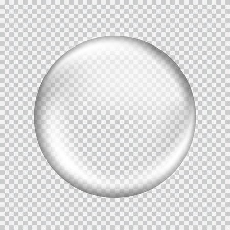 Big white transparent glass sphere with glares and highlights. White pearl. Vector illustration, contains transparencies, gradients and effects Çizim