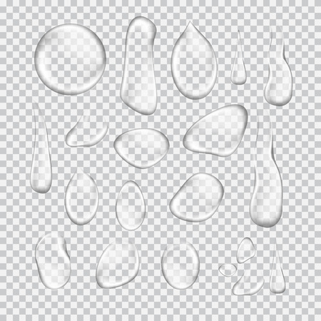 Transparent water drop set on light gray background. Custom shapes water bubbles with glares and highlights.