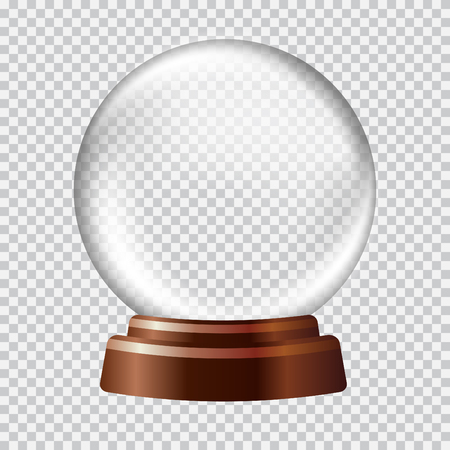 snow white: Snow globe. Big white transparent glass sphere on a stand with glares and highlights. Vector illustration contains gradients and effects. Winter christmas background for your design and business.