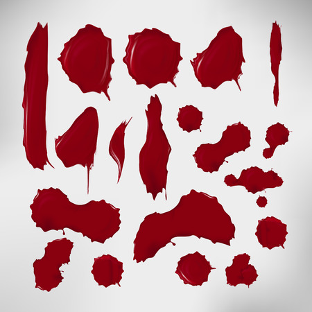 blood splatter: Set of realistic blood drops. Vector illustration of assorted red ink splatters. Crimson dots with gradients and highlights. Custom shapes and colours. Abstract texture for your desing and business. Illustration