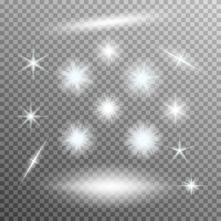 Vector set of glowing light bursts with sparkles on transparent background. Transparent gradient stars, lightning flare. Magic, bright, natural effects. Abstract texture for your design and business. Reklamní fotografie - 49969243