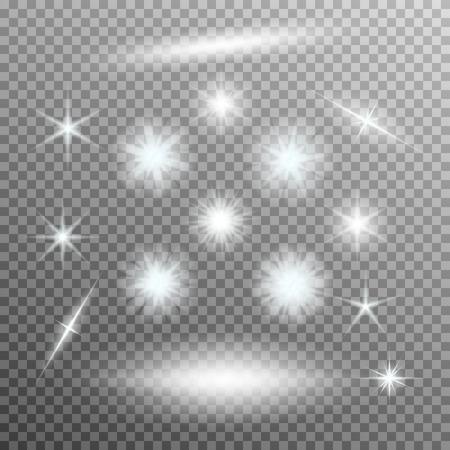 Vector set van gloeiende licht barst met schittert op transparante achtergrond. Transparante gradiënt sterren, bliksem flare. Magie, heldere, natuurlijke effecten. Abstracte textuur voor uw ontwerp en het bedrijfsleven.