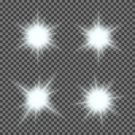 Vector set of glowing light bursts with sparkles on transparent background. Transparent gradient stars, lightning flare. Magic, bright, natural effects. Abstract texture for your design and business. Ilustração