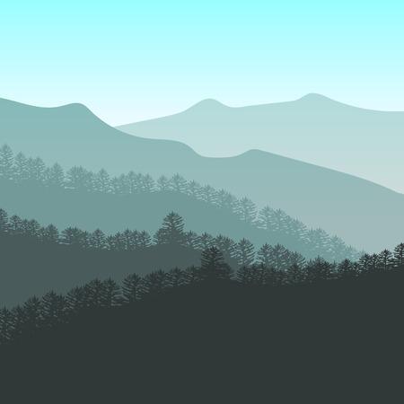 Panorama Vektor-Illustration der Bergrücken. Peaks, blau grünen Hügeln, Wald, Wolken am Himmel. bunten Hintergrund für Ihr Design und Wirtschaft. Vektorgrafik