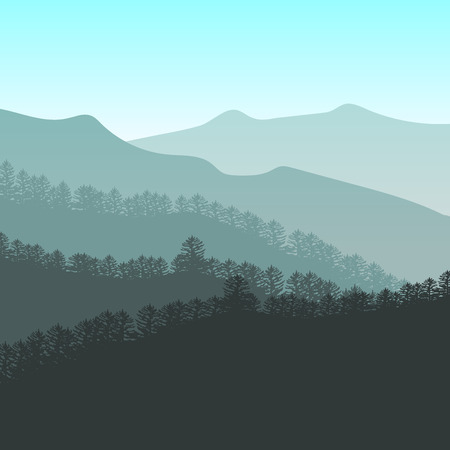 Panorama vector illustration of mountain ridges. Peaks, blue green hills, forest, clouds in the sky.  colorful background for your design and business.