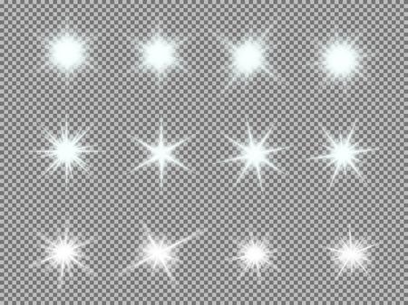 Jogo do vetor de brilhante luz estoura com brilhos no fundo transparente. Estrelas gradiente transparentes, alargamento relâmpago. Mágica, efeitos luminosos e naturais. Textura abstrata para seu projeto e de negócios.