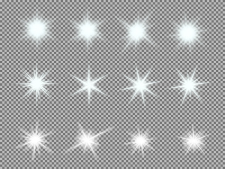 Vector set of glowing light bursts with sparkles on transparent background. Transparent gradient stars, lightning flare. Magic, bright, natural effects. Abstract texture for your design and business. Ilustracja
