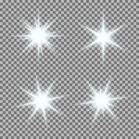 Vector set of glowing light bursts with sparkles on transparent background. Transparent gradient stars, lightning flare. Magic, bright, natural effects. Abstract texture for your design and business. 向量圖像