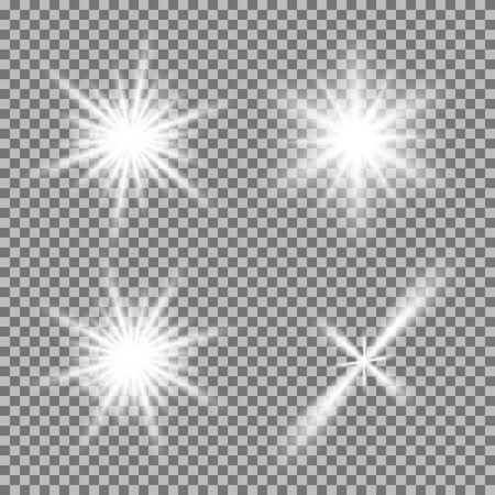 Vector set of glowing light bursts with sparkles on transparent background. Transparent gradient stars, lightning flare. Magic, bright, natural effects. Abstract texture for your design and business. Stock Illustratie