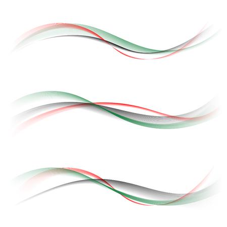 추상 부드러운 컬러 웨이브 벡터 흰색 배경에 설정합니다. 곡선의 흐름 적색, 녹색, 검은 연기 패턴 모션 그림입니다. 국기 UAE, 디자인 및 비즈니스를위
