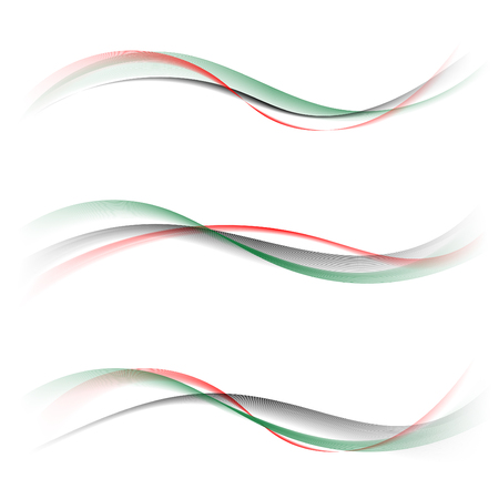 Abstract smooth color wave vector set on white background. Curve flow red green black smoke pattern motion illustration. Flag UAE, United Arab Emirates template Art for your design and business.