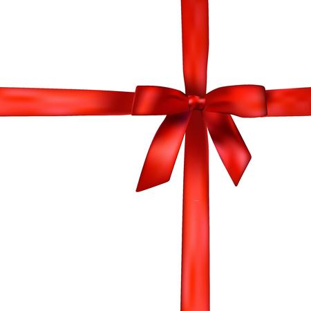 Vacanze con sfondo realistico rosso lucido fiocco regalo in raso e nastro su sfondo bianco con copia spazio. Eps di illustrazione vettoriale 10 con gradiente maglie. Modello astratto per la progettazione e le imprese.