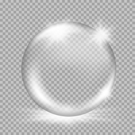 liquid crystal: Empty snow globe. Big white transparent glass sphere with glares and, bursts, highlights. Vector illustration with gradients and effects. Winter background for your design and business