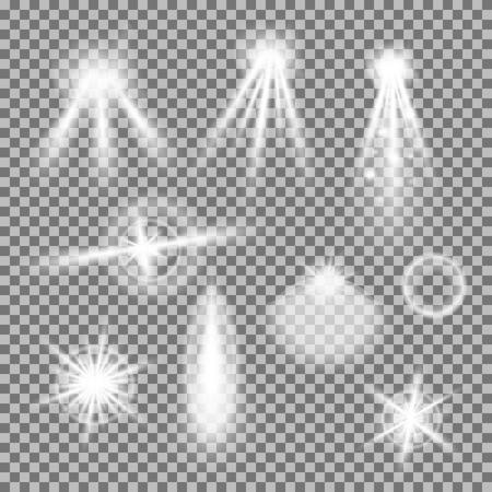 Vectorreeks gloeiende lichte uitbarstingen met fonkelingen op transparante achtergrond. Transparante gradiëntsterren, bliksemflare. Magische, heldere, natuurlijke effecten. Abstracte textuur voor uw ontwerp en het bedrijfsleven.
