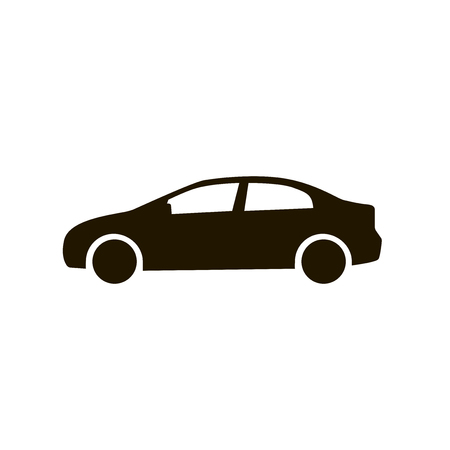 automobile: Car icon. Black silhouette of automobile isolated on white background. Flat design style eps 10 vector illustration for your desing and business.