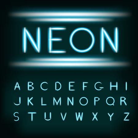 Neon carattere luce alfabeto. lettere tipo a tubi al neon su sfondo scuro con incandescente bagliore scintillante. Blu bagliore bianco neon realistico carattere alfabeto. illustrazione vettoriale per la progettazione e le imprese.