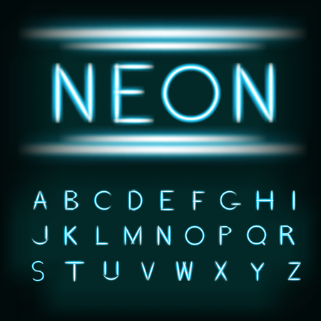 Neon light alphabet font. Neon type tube letters on dark background with glowing glittering glare. Blue white glow realistic neon alphabet font. Vector illustration for your design and business.