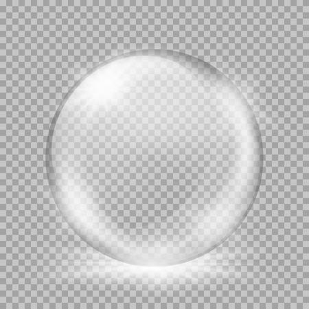Lege sneeuwbol. Grote witte transparante glazen bol met blikken en, uitbarstingen, hoogtepunten. Vectorillustratie met hellingen en effecten. Winter achtergrond voor uw ontwerp en het bedrijfsleven