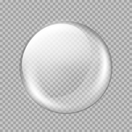 Grande bianco sfera di vetro trasparente con riflessi e luci. Perla bianca. Illustrazione vettoriale, contiene trasparenze, gradienti ed effetti