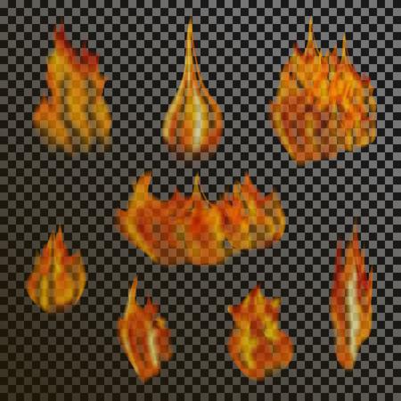 efectos especiales: Conjunto de llamas de fuego transparentes realistas sobre una rejilla de fondo en blanco y negro a cuadros. efectos de luz especiales. elementos translúcidos hoguera. ilustración vectorial de malla de degradado para el diseño y empresa.