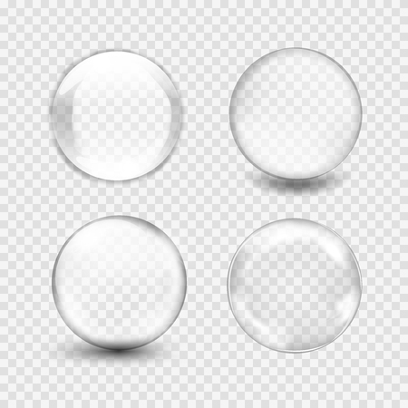 liquid crystal: Set of transparent glass sphere with glares and highlights. White pearl, water soap bubble, shiny glossy orb. Vector illustration with transparencies, gradient and effects for your design and business