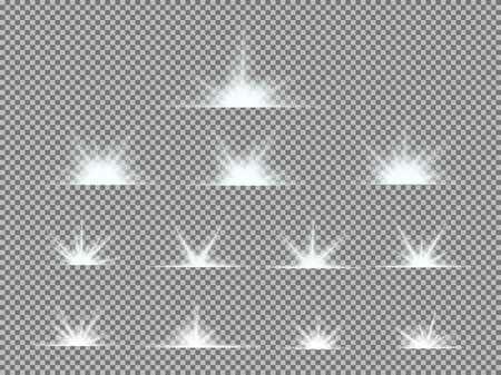 Vector set of glowing light bursts with sparkles on transparent background. Transparent gradient stars, lightning flare. Magic, bright, natural effects. Abstract texture for your design and business. Vectores