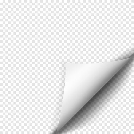 nota de papel: Enrollamiento de la página con la sombra en la hoja de papel en blanco. etiqueta de papel blanco. Elemento para la publicidad y el mensaje promocional aislado en el fondo transparente. ilustración vectorial para su diseño y empresa