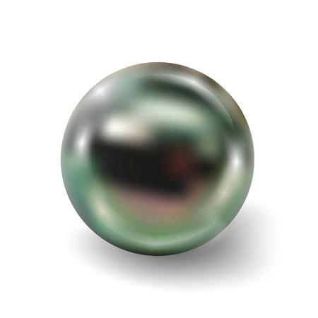 Pearl realistische op een witte achtergrond. Sferische pauw 3D orb met transparante glans en hoogtepunten voor decoratie. Sieraden edelstenen. Vector afbeelding voor uw ontwerp en het bedrijfsleven.