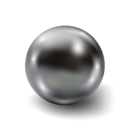 Pearl realistic isolated on white background. Spherical black 3D orb with transparent glares and highlights for decoration. Jewelry gemstones. Vector Illustration for your design and business.