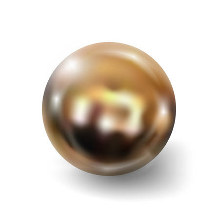 perl: Golden ball realistic isolated on white background. Spherical 3D orb with transparent glares and highlights for decoration. Jewelry gemstone. Vector Illustration for your design and business.