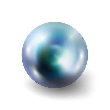 Perle réaliste isolé sur fond blanc. Spherical orbe paon 3D avec éclats transparents et met en évidence pour la décoration. pierres précieuses de bijoux. Vector Illustration pour votre conception et d'affaires.