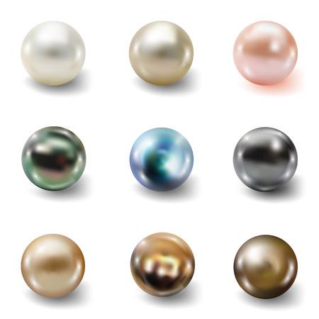 Pearl insieme realistica isolato su sfondo bianco. Sferica bella globo 3D con riflessi trasparenti e mette in evidenza per la decorazione. pietre preziose gioielli. Illustrazione vettoriale per la progettazione e le imprese Vettoriali