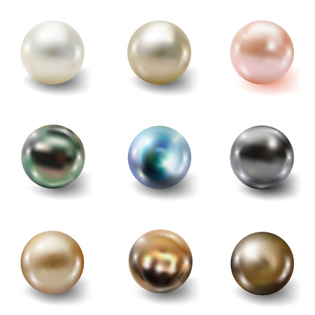 crystals: Pearl realistic set isolated on white background. Spherical beautiful 3D orb with transparent glares and highlights for decoration. Jewelry gemstones. Vector Illustration for your design and business
